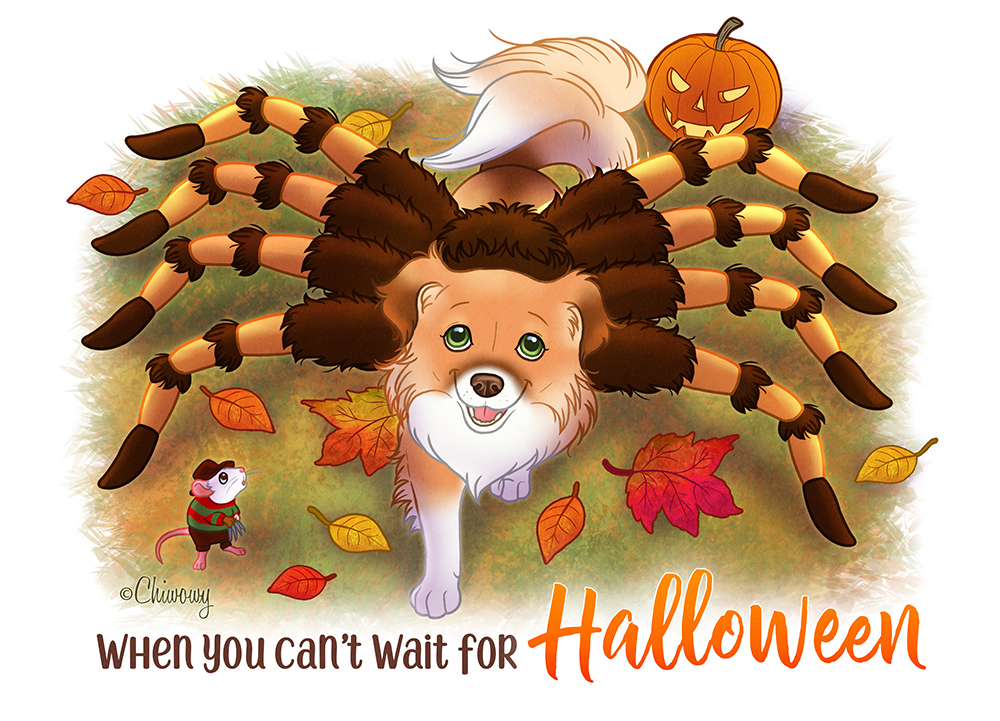 Chiwowy Penny in spider halloween costume